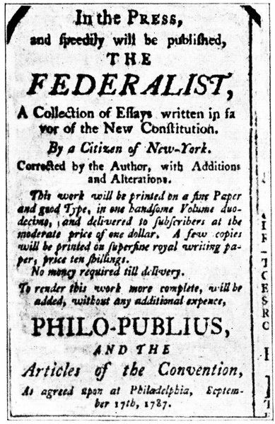 the federalists an edition of the federalist a series of pro constitution essays published in 1786 87