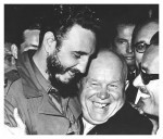 Castro embraces his new-found ally, Soviet leader Nikita Khrushchev