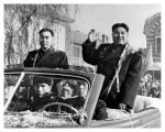 Kim Il-Sung (right) and Zhou Enlai during an official visit to China in 1958