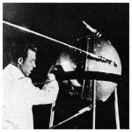 A Soviet technician works on Sputnik prior to its launch in 1957