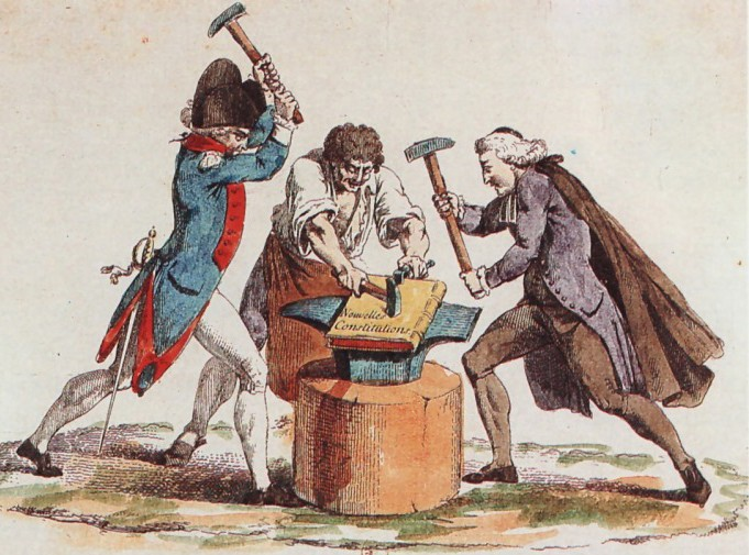 This image shows the Three Estates working together to construct a ... French Revolution Estates System