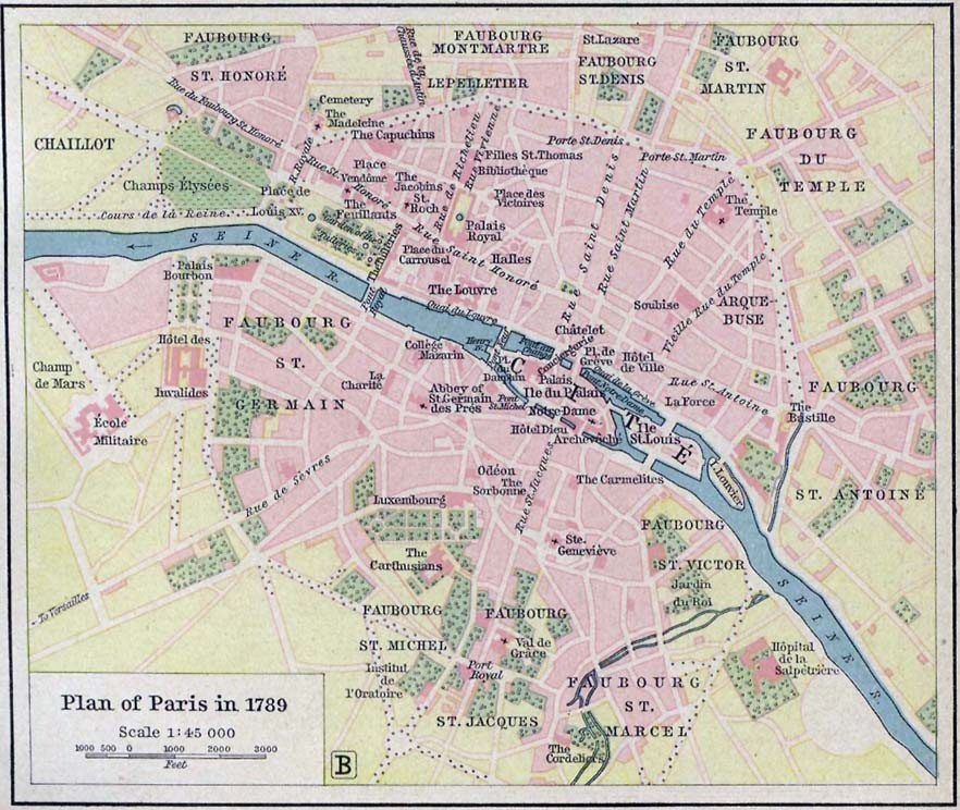 a map showing the districts and landmarks of paris on the eve of the revolution