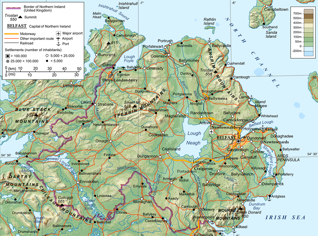 Map Of Northern Ireland Counties And Towns.Northern Ireland Maps