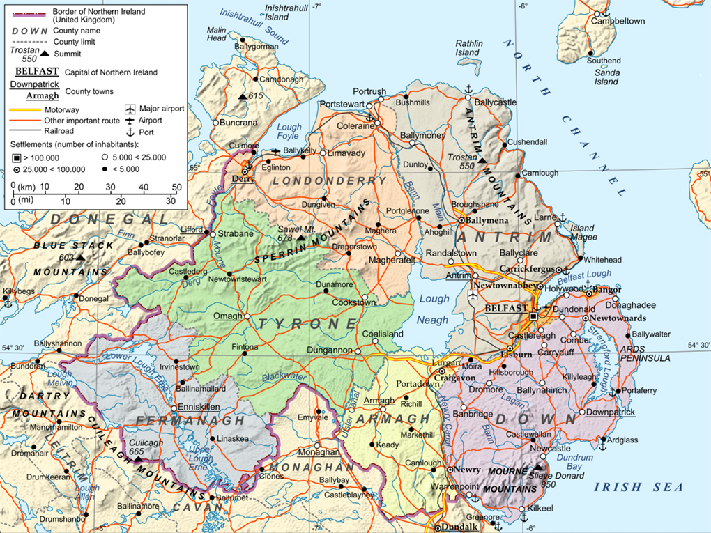 Map Of Counties Of Northern Ireland.Northern Ireland Maps