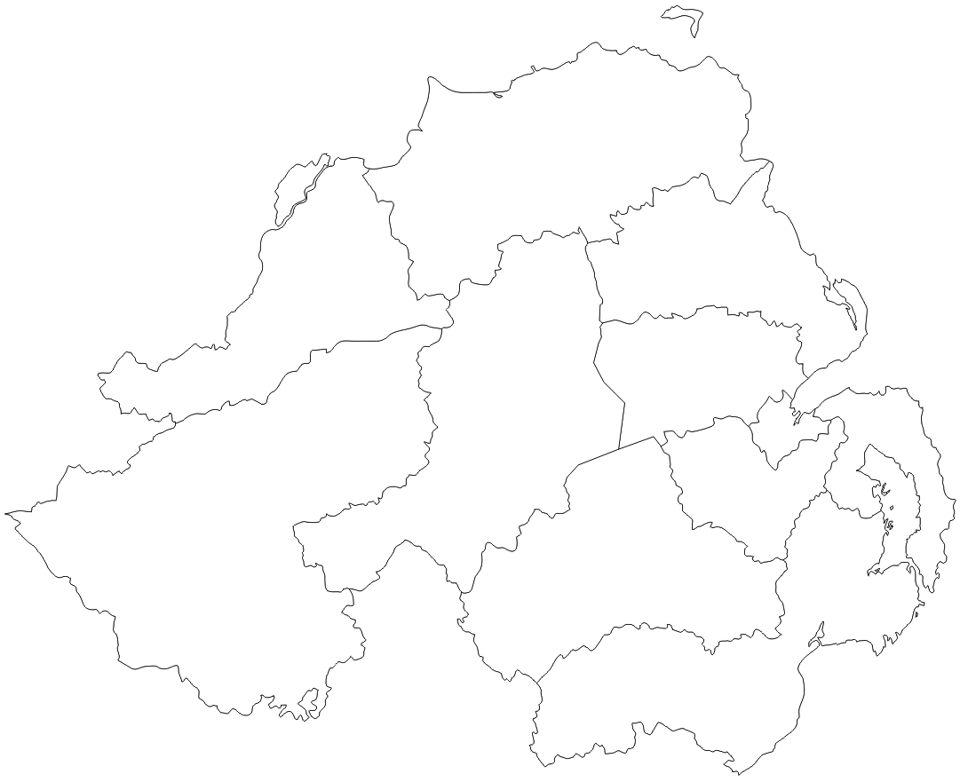 outline map of northern ireland