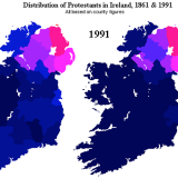 15. Distribution of Protestants in Ireland 1861 and 1991