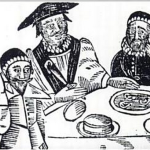 A drawing of William Prynne, right, being reacquainted with his ears