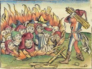 medeltida katt brinnande
