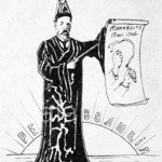A Russian cartoon depicting Witte as a magician, able to conjure reform from tsarism.