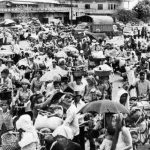 Cambodian civilians are forced to leave Phnom Penh by foot in 1975