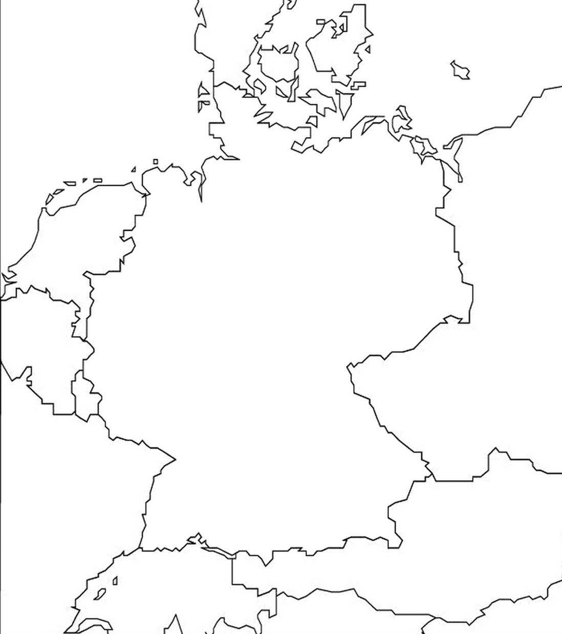 1 outline map of germany and surrounding countries