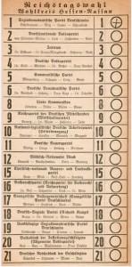 boleta electoral del reichstag de weimar