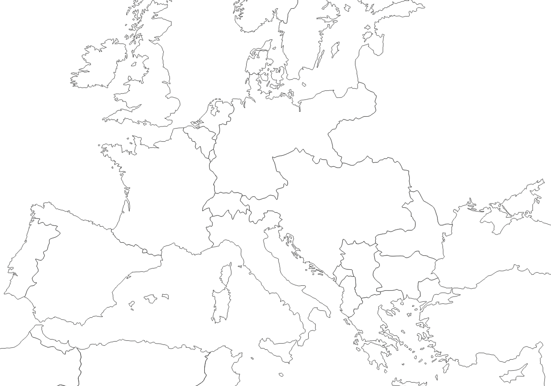 1914 - Outline map of Europe