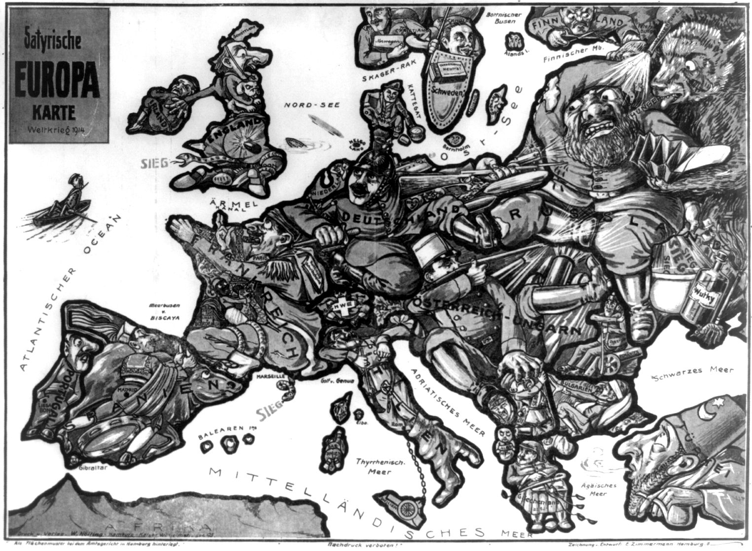 a satirical map of europe 1914