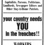 A sarcastic anti-war poster produced by the IWW