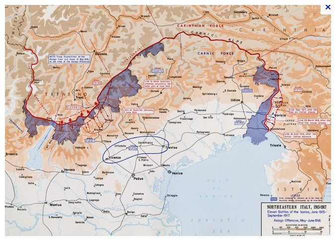 Areas Of Italy Map.The Italian Front