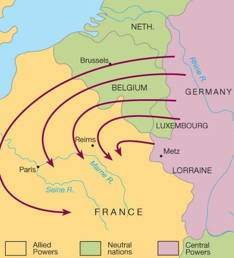 The Schlieffen Plan on battle of verdun map wwi, downloadable maps of battle wwi, allied powers map wwi, battle of tannenberg map wwi,